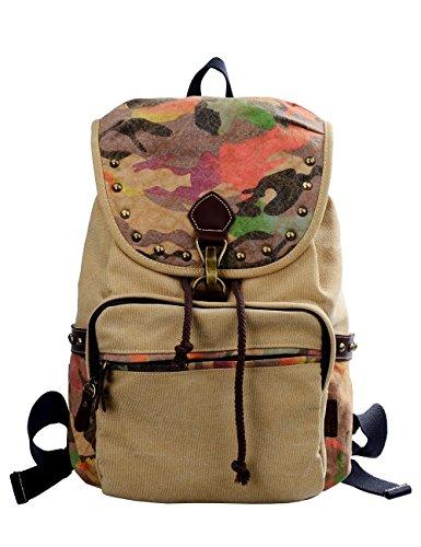 Douguyan Moda mochila para Mujer lona Bolsas de Viaje Casual Trekking E00159 Caqui Beige