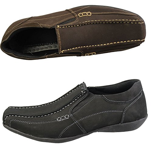 MENS CASUAL LOAFERS SMART NUBUCK SUEDE LEATHER COMFORT DRIVING MOCASSIN SHOES Black Ey4nxyD