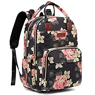 Diaper Bag Backpack, Baby Diaper Bags Large Capacity Floral Diaper Backpack Built-in USB Charging Port and Independent Wet Cloth Bag Multi-Function Waterproof Travel Back Pack for Baby Girl and Mom