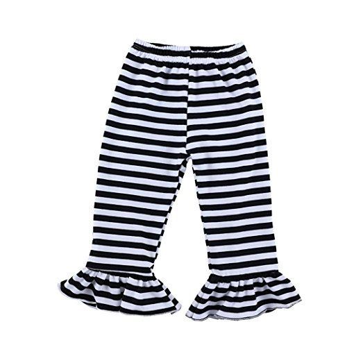Wennikids Big Girls Ruffle Soft Cotton Flare Pants 6-12T X-Large Black Stripe by Wennikids