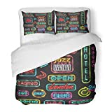SanChic Duvet Cover Set Neon Signs Lights Poker Casino London New York USA in Open Hotel Jazz Club Designs Decorative Bedding Set 2 Pillow Shams King Size