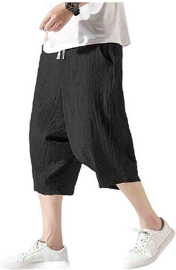 Beeatree メンズハーレムルーズフィットオーバーサイズコットンリネンリラックスカジュアルパンツ