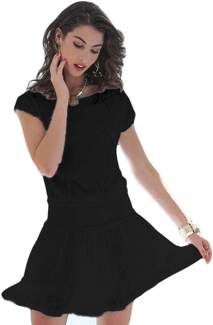 YSABEL MORA - Vestido IBICENCO Mujer Color: Negro Talla: S: Amazon ...