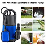 1HP Sump Pump Submersible Water Pump Electric Clean Water Pump for pool pond with 3566GPH Flow Rate and Automatic Float Switch