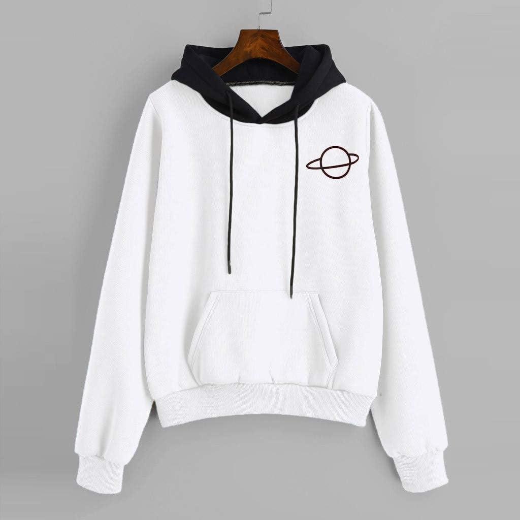 YiYLunneo Women Pullover Hoodie Casual Long Sleeve Sweatshirt Print Drawstring Pocket Top Blouse