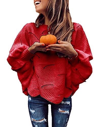 HZSONNE Women's Casual Boho Batwing Ruffle Hem Loose Fit Crochet Ripped Sweater Knit Pullover Tunic Jumper Tops (Red, Small)