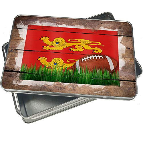 NEONBLOND Cookie Box Football with Flag Basse-Normandie region France Christmas Metal Container
