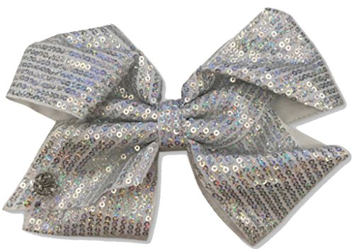 JoJo Siwa Signature Collection Hair Bow - Gray with Silver Iridescent Sequins - Iridescent Bow