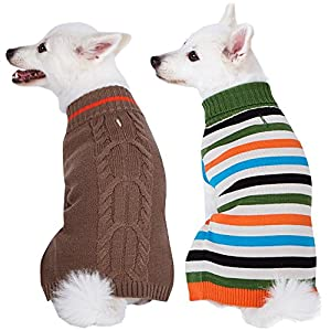 """Blueberry Pet 2 Patterns Pack of 2 Winter Coziness Cool Tone Dog Sweaters with Stripes and Classic Cable Knit Pattern, Back Length 16"""", Clothes for Dogs"""