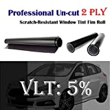 2PLY 1.5mil Professional Uncut Roll Window Tint Film 5% VLT 36'' In x 100' Ft Feet (36 X 1200 Inch)