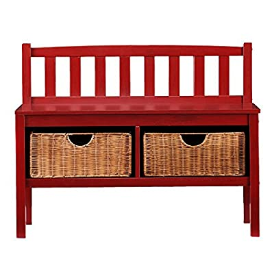 Southern Enterprises Kensington Window Bench - Red - Dimensions: 36L x 14.25W x 28.5H in. Solid pine and MDF with birch veneers Open storage with 2 pull-out rattan baskets - entryway-furniture-decor, entryway-laundry-room, benches - 51JjRunks7L. SS400  -