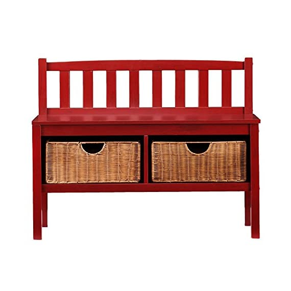 Southern Enterprises Kensington Window Bench - Red - Dimensions: 36L x 14.25W x 28.5H in. Solid pine and MDF with birch veneers Open storage with 2 pull-out rattan baskets - entryway-furniture-decor, entryway-laundry-room, benches - 51JjRunks7L. SS570  -