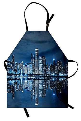Lunarable Landscape Apron, Chicago Night Sky with Skyscrapers Financial District Tourist Attraction, Unisex Kitchen Bib with Adjustable Neck for Cooking Gardening, Adult Size, Night Blue