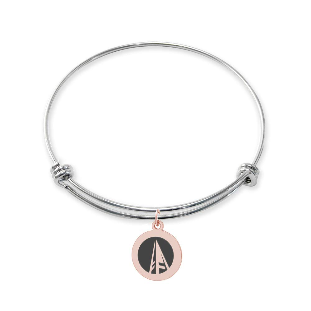 College Jewelry Schoolcraft Ocelots Stainless Steel Adjustable Bangle Bracelet with Rose Gold Plated Round Charm