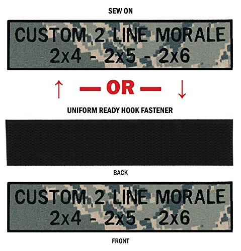 Custom 2 Line Morale Name Tapes with Border, Over 30 Fabrics to choose! Made in USA!! Tiger Stripe, 2
