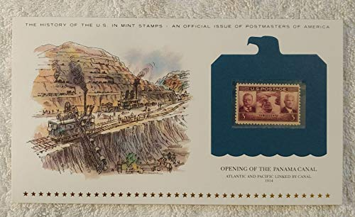 Opening of the Panama Canal - Atlantic and Pacific Linked by Canal - Postage Stamp (1939) & Art Panel - History of the United States: an official issue of Postmasters of America - Limited Edition, 1979 - Theodore Roosevelt & George Washington Goethals