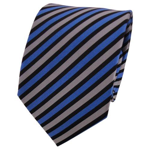 TigerTie cravate en soie bleu gris noir rayé - cravate en soie