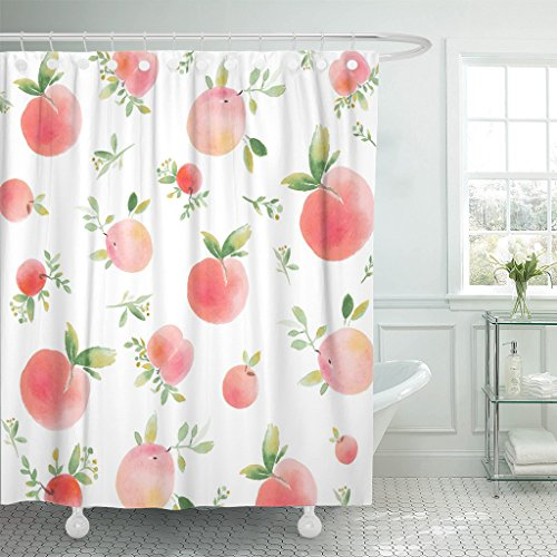 (Emvency Shower Curtain Colorful Peach Watercolor with Peaches Green Apricot White Waterproof Polyester Fabric 72 x 72 inches Set with Hooks)