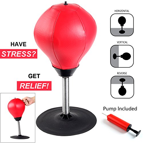 Price comparison product image Stress Buster Desktop Punching Ball- 8th team Relieves Stresses Leather Boxing ball Heavy Duty Suction Freestanding Reflex Bag Kit Instant stress relief for adult Focus energy Exercise for kid