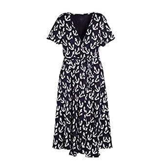 Beachcombers Women Anchor Rayon/Spandex Wrap Dress Navy Small