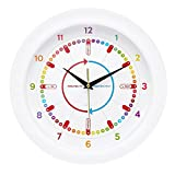 Apex Homeware Easily Learn to Tell The Time Children's Wall Clock, Silent Movement. 1 YEAR, NO QUIBBLE