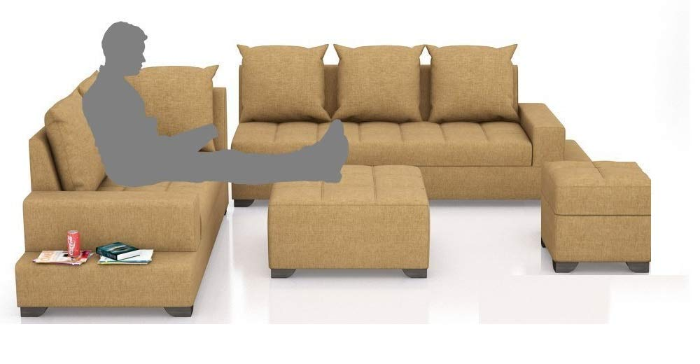 Zikra Six Seater L-Shaped Sofa (Brown)