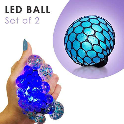 New Set of 2 Led Anti Stress Ball - Squishy Light up Ball - Anti Stress Toys for Kids - Mesh Stress Ball - Grape Ball - DNA Ball - Prime Slime Stress Ball - ADHD Fidget Toys - Net Stress Squishy Ball