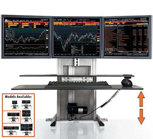 Stand Steady ErgoTech One Touch Electric Standing Desk Converter | Monitor Arm/Mount | Favorite Stand Up Desk of Stock Traders, Graphic Designers, More!(3 Monitors, Triple Ultra) (Ergotech Triple Desk)