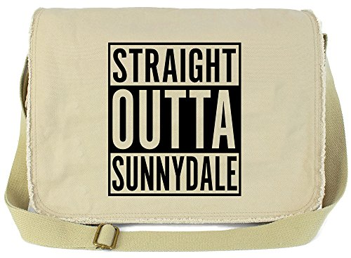 Tenacitee Straight Outta Sunnydale Putty Raw Edge Canvas Messenger Bag