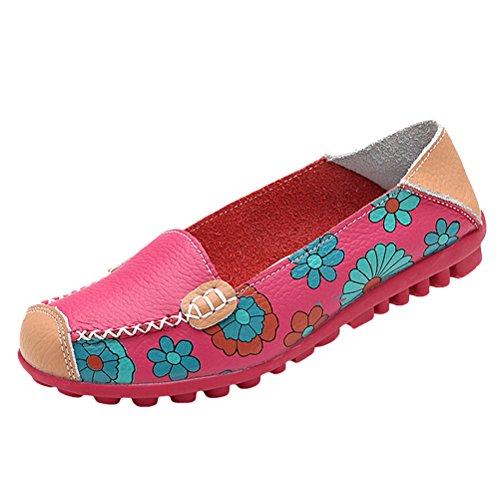 Vogstyle - Zapatillas de casa Mujer Estilo 3-Rosa roja