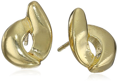 Sterling Silver Gold-Plated Open Circle Swirl Stud Earrings ()