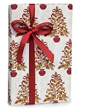elegant holly berry trees christmas holiday gift wrap paper 16 foot roll - Elegant Christmas Wrapping Paper