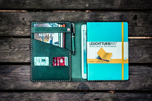 Leather Leuchtturm1917 A5 Notebook Cover - Crazy Horse Forest Green