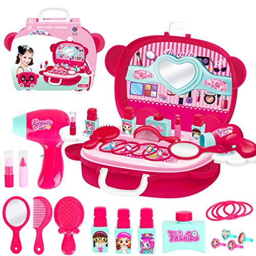 Pretend Makeup for Girls, Alonea Pretend Play Cosmetic and Makeup Toy Set Kit for Kids Beauty Salon Birthday Best Gift for Kids (Hot Pink❤️) ()
