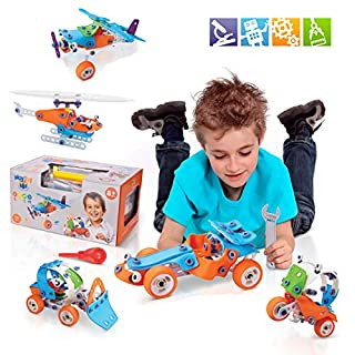 STEM Learning Toy Set for 8 - 12 Year Old Boys and Girls , 5 in 1 Educational Engineering Construction Kit, 132 PCS STEM Building Set , Build and Play