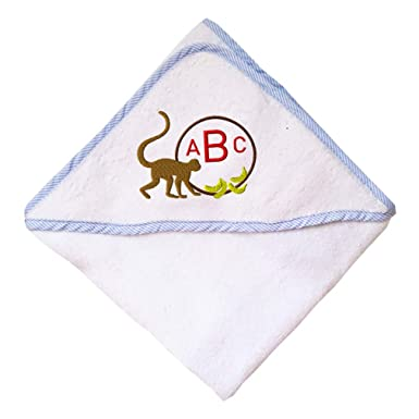 912a94c8a7da3 Amazon.com  Custom Embroidered Monogram Brown Monkey Bananas Round Frame  Baby Hooded Towel  Clothing