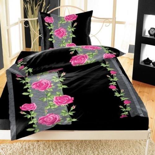 2tlg Warme Winter Bettwäsche Microfaser Thermo Fleece 135 x 200 cm NEU Schwarz Grau Grün mit Pink Rosa Rosen Blumen