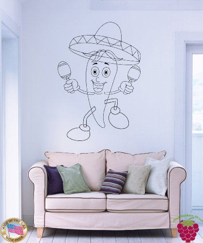 - Wall Vinyl Stickers Happy Chili Pepper Dancing with Maracas z1678m