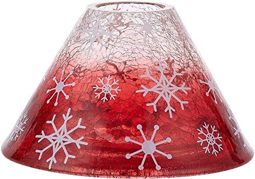 Pavilion - Snowflake Patterned Ombre Red Crackled Glass Jar Candle Shade