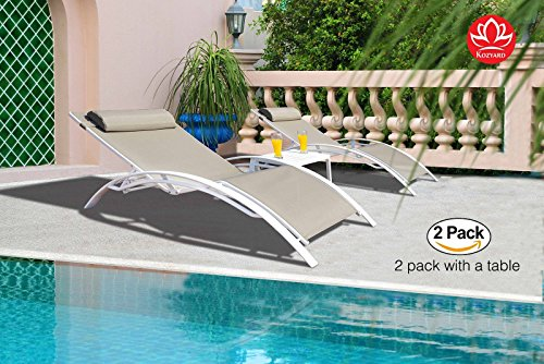 Kozyard KozyLounge Elegant Patio Reclining Adjustable Chaise Lounge Aluminum and Textilene Sunbathing Chair for All Weather with headrest (2 packs), Very light, Very comfortable (Taupe W/Table) by Kozyard