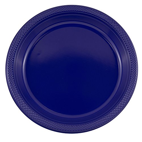 (JAM PAPER Round Plastic Party Plates - Large - 10 1/4 inch - Navy Blue - 20/Pack)