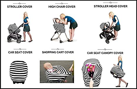 5 in 1 Nursing Breastfeeding Cover Scarf - Baby Car Seat Canopy, Shopping Cart, Stroller, Carseat Covers for Girls and Boys - Multi-Use Infinity Stretchy Shawl (Deep Blue White Stripes) changzi