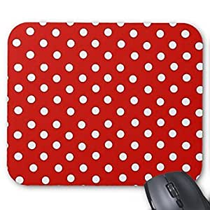 New Top Red and White Polka Dot Pattern Mouse Pad-Stylish, durable office accessory and gift