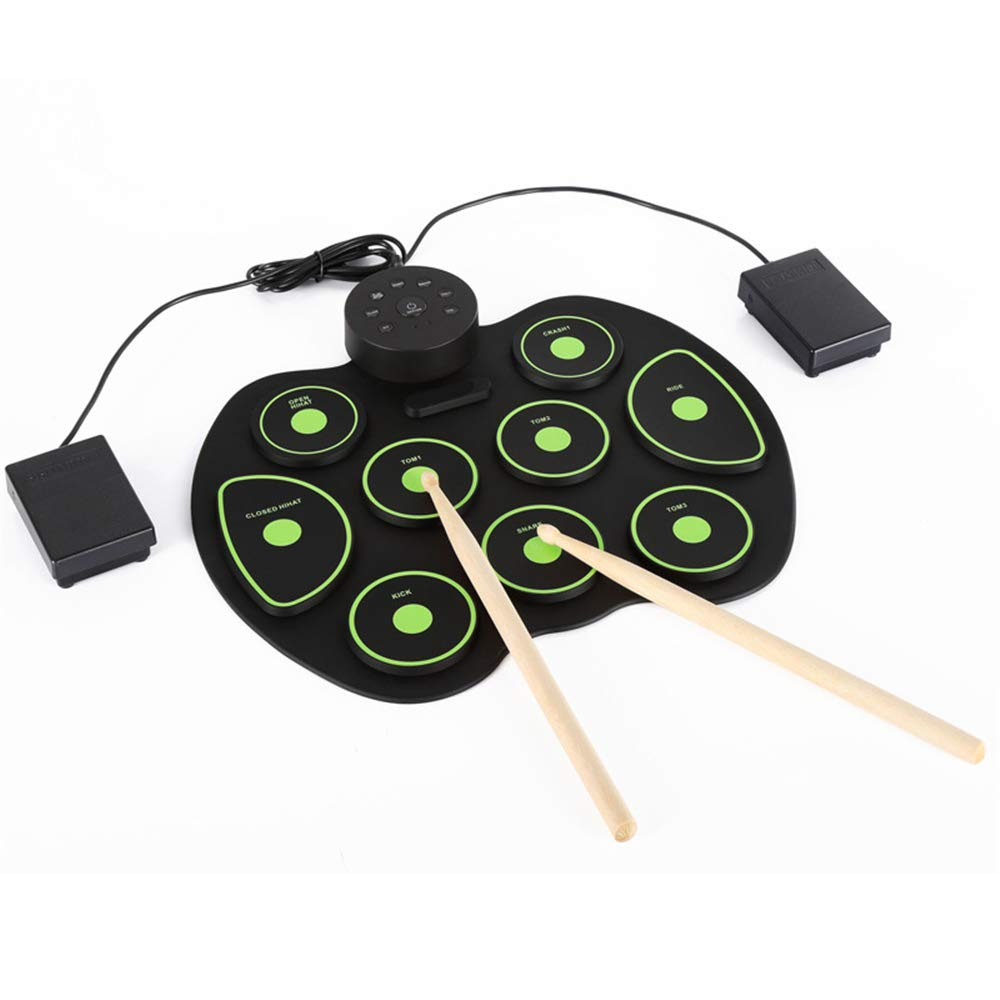 Canyixiu Roll Up Drum, Electronic Hand Roll MIDI Drum with Built in Speakers, Foot Pedals, Drumsticks, and Power Supply (Color : Green)