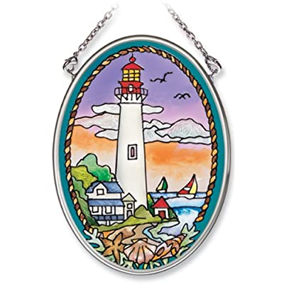 Amia Hand Painted Glass Suncatcher with Cape May Lighthouse Design, 3-1/4-Inch by 4-1/4-Inch Oval: Home & Kitchen