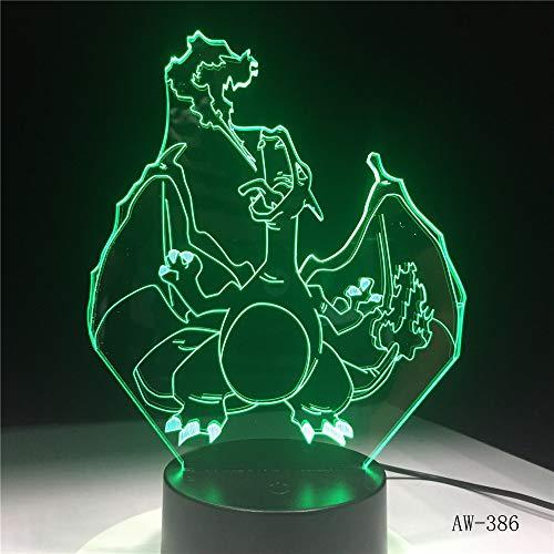 3D Night Light Marvel,Cartoon Pokemon Go Game Charizard 3D Led Lampe Farbwechsel Tisch Schreibtisch Nachtlicht Luminaria…