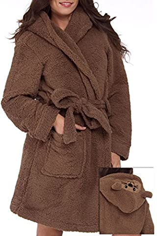 Blue Star Clothing Women's Cute Soft Full Plush Adult Animal Sherpa Cozy Critters Bath Hooded Robe (Full Face Character Hoodie)