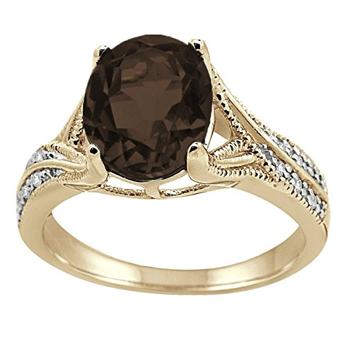 (Oval Cut Smokey Quartz and Diamond Antique Ring in 10K Yellow Gold)