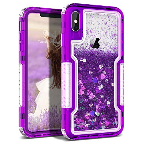 Dexnor Compatible with iPhone Xs Max 6.5'' Hard Clear Detachable Frame Dynamic Liquid Confetti Protective Cover Glitter Bling Drift Quicksand Thickened Full Protection Bumper for Girls/Women - Purple