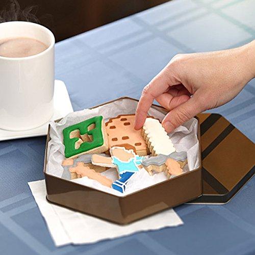 Minecraft - caja de galletas y moldes para galletas - con las formas del Creeper, la galleta, el pico, la espada y el jugador Steve en un juego de ...